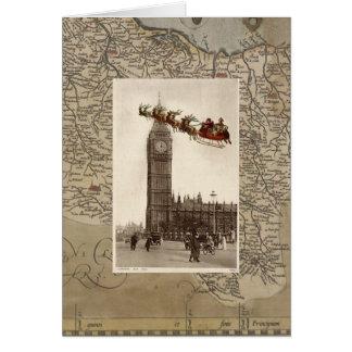 Papai noel do vintage sobre o cartão de Natal de