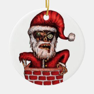Papai noel do zombi ornamento de cerâmica redondo