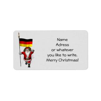 Papai Noel doce com a bandeira de Alemanha Etiqueta De Endereço