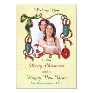Papai noel e cartão com fotos lunáticos do feriado convite 12.7 x 17.78cm