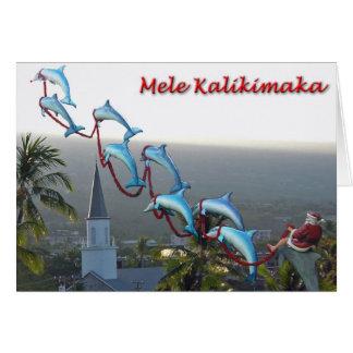 Papai noel e cartão de Mele Kalikimaka dos