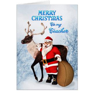 Papai noel e cartão de Natal da rena para o profes