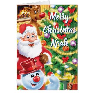 Papai noel e cartão de Natal dos amigos