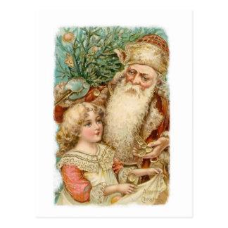 Papai noel e cartão do Natal da menina