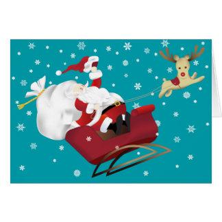 Papai noel e cartão felizes do Natal da rena