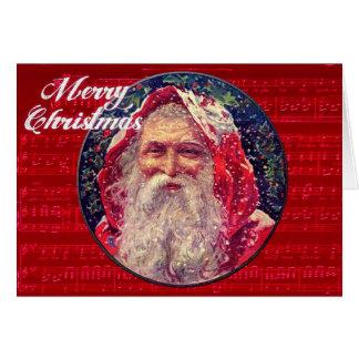 Papai noel e música do cartão do natal vintage