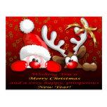 Papai noel e Natal engraçados Postcar dos desenhos Cartoes Postais