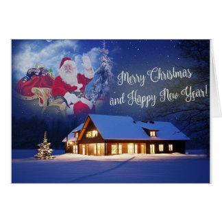 Papai noel e seu cartão do Feliz Natal das