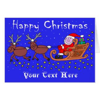 Papai noel em seu cartão de Natal do trenó