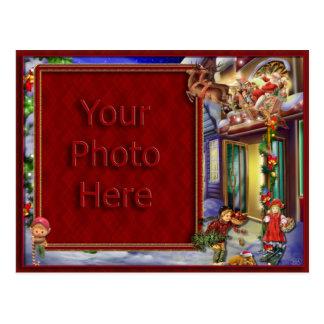 Papai noel em sua moldura para retrato da maneira cartão postal