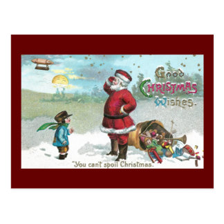 Papai noel encalhado na neve cartão postal