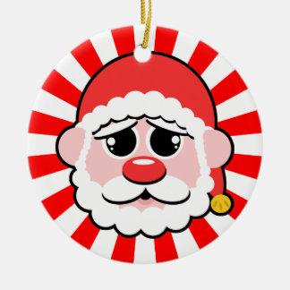 Papai Noel enfrenta o pop Ornamento De Cerâmica Redondo