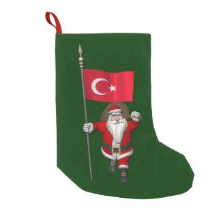 Papai Noel engraçado com a bandeira de Turquia Meia De Natal Pequena
