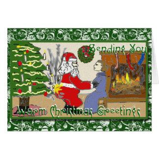 Papai noel engraçado no cartão de Natal do fogo