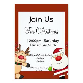 Papai noel & feriado do Natal da rena Convite 12.7 X 17.78cm