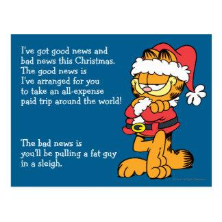Papai noel Garfield Cartão Postal