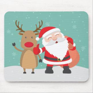Papai Noel muito bonito e rena | Mousepad
