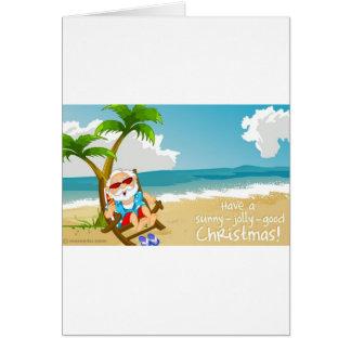 Papai noel na praia, papai noel em férias cartões