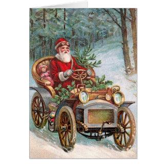 Papai Noel no automóvel Cartão Comemorativo