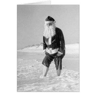 Papai Noel no cartão da praia