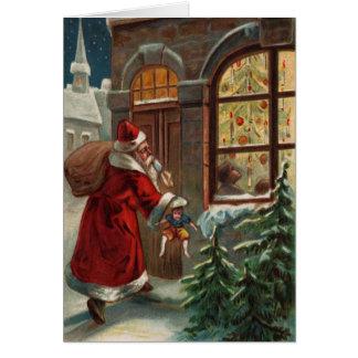 Papai noel no cartão de nota da porta