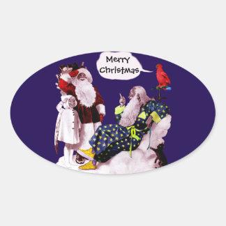 PAPAI NOEL, POUCA festa de Natal de ANGEL& MERLIN Adesivo Oval