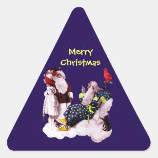 PAPAI NOEL, POUCA festa de Natal de ANGEL& MERLIN Adesivos Triângulo