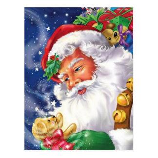 Papai Noel que guardara um Teddybear Cartão Postal