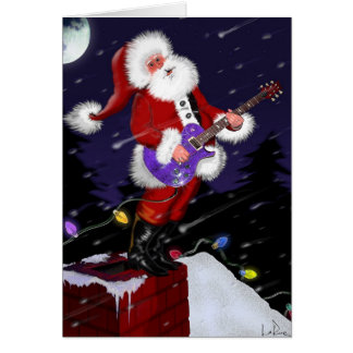 Papai Noel que joga a guitarra elétrica Cartão De Nota
