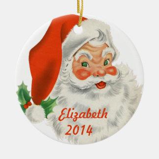 Papai Noel retro personalizado Ornamento De Cerâmica Redondo