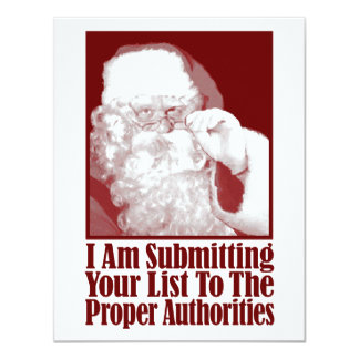 Papai noel, sua lista do Natal, e as autoridades Convite 10.79 X 13.97cm
