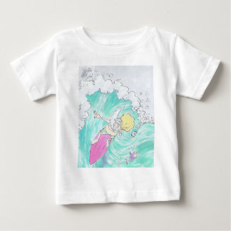 Papai noel surfando, t-camisa infantil camiseta para bebê