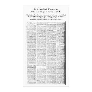 Papéis, no. 10 & no. federalistas 51 (1787-1788) impressão em tela