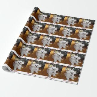 Papel branco do envoltório da pintura do cão do papel de presente