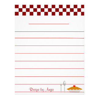 Papel da receita da torta do tabuleiro de damas -  flyer 21.59 x 27.94cm