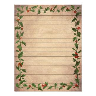 Papel de carta alinhado azevinho do natal vintage