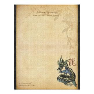 Papel de carta azul chinês do dragão