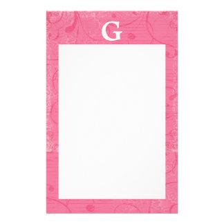 Papel de carta cor-de-rosa do monograma papelaria personalizada