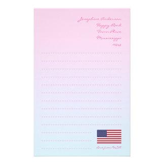 Papel de carta da bandeira americana papelaria