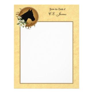 Papel de carta da silhueta da cabeça de cavalo
