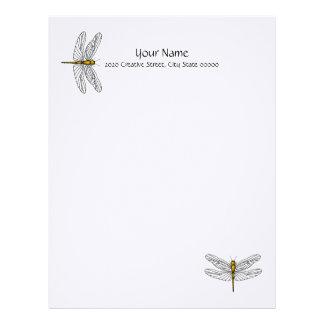 Papel de carta de linho do cabeçalho da libélula d