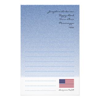Papel de carta do azul da bandeira americana papelaria