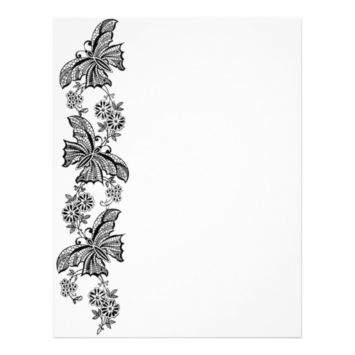 Papel de carta do cabeçalho das borboletas do laço