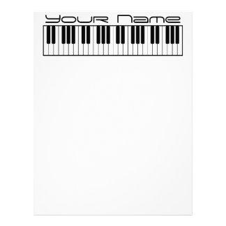 Papel de carta do cabeçalho do teclado de piano