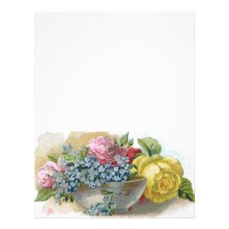 Papel de carta floral do cabeçalho do vintage