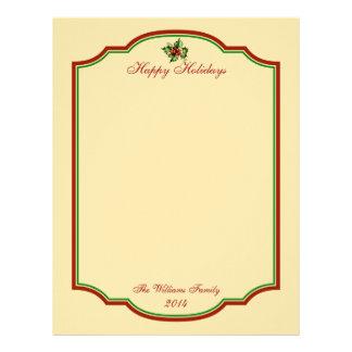 Papel de carta personalizado do feriado do natal v