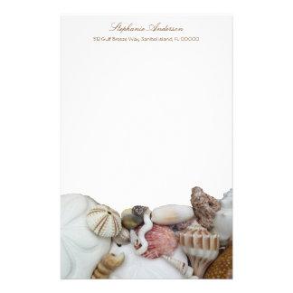 Papel de carta pessoal da beira tropical do papelaria