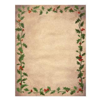 Papel de carta Unlined do azevinho do natal