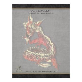 Papel de carta vermelho chinês do dragão