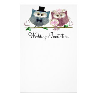 Papel de carta Wedding personalizado corujas do Papelaria
